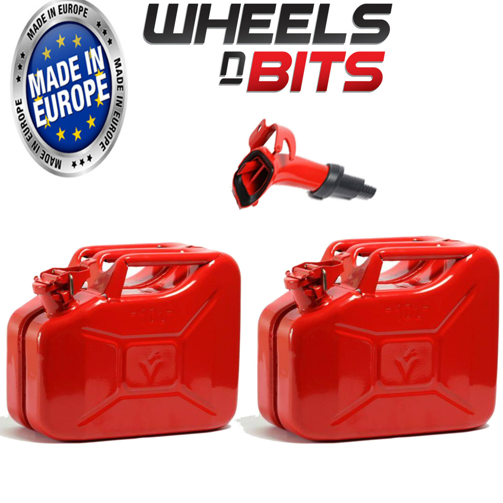 2 x 10L rojo JERRY MILITARY CANS FUEL OIL PETROL DIESEL STORAGE TANK WITH SPOUT