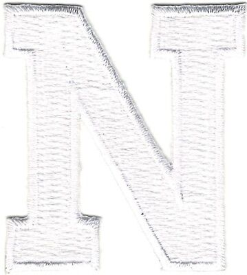 "1 7//8/"" White Monogram Block letter N Embroidery Patch"