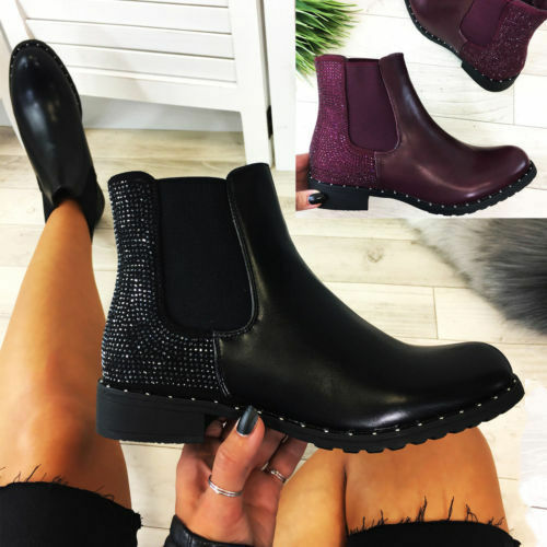 New Womens Ladies Chelsea Ankle Boots Diamante Pull On Casual Flat Shoes Sizes