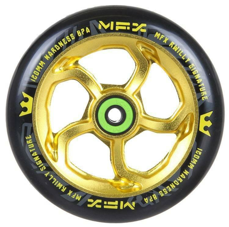 MGP MFX R Willy Signature Hurricane Anodised gold 120mm Wheel -  With Bearings