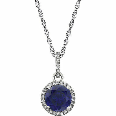 14K White 1/10 ct tw Diamond & Created Blue Sapphire Birthstone Necklace New