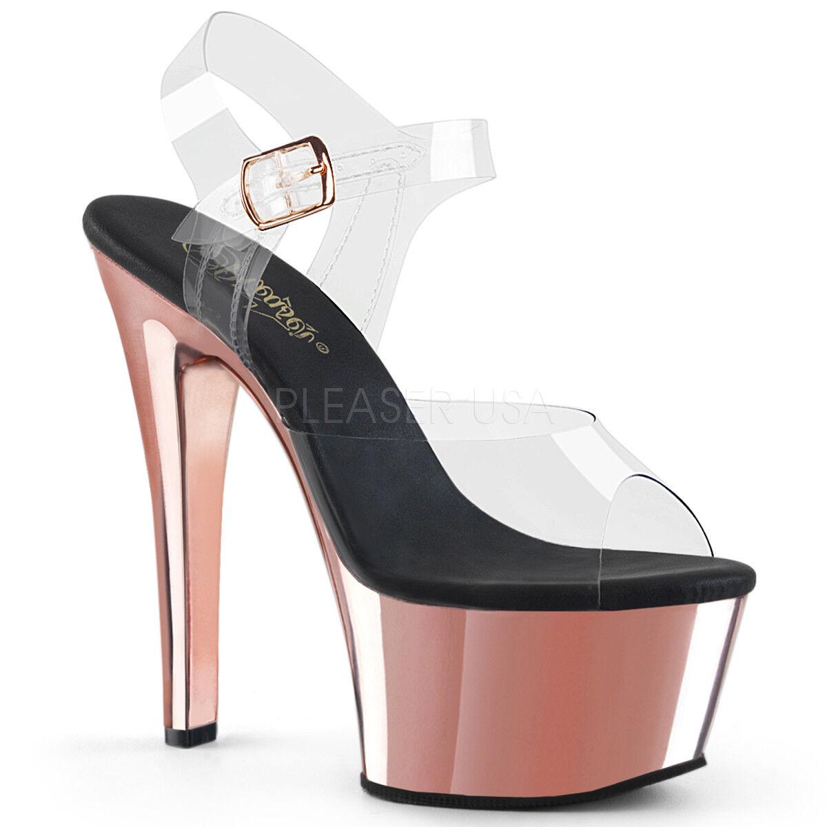 PLEASER 6  Heel Comfortable Rose or Chrome Platform Stripper Ankle Strap chaussures