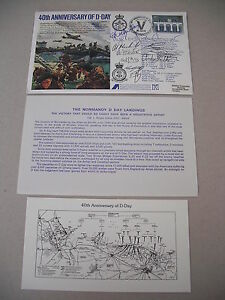 UK ISSUED 40TH ANN D-DAY LANDINGS COMMEM. CACHE FDC SIGNED BY 11 PARTICIPANTS!
