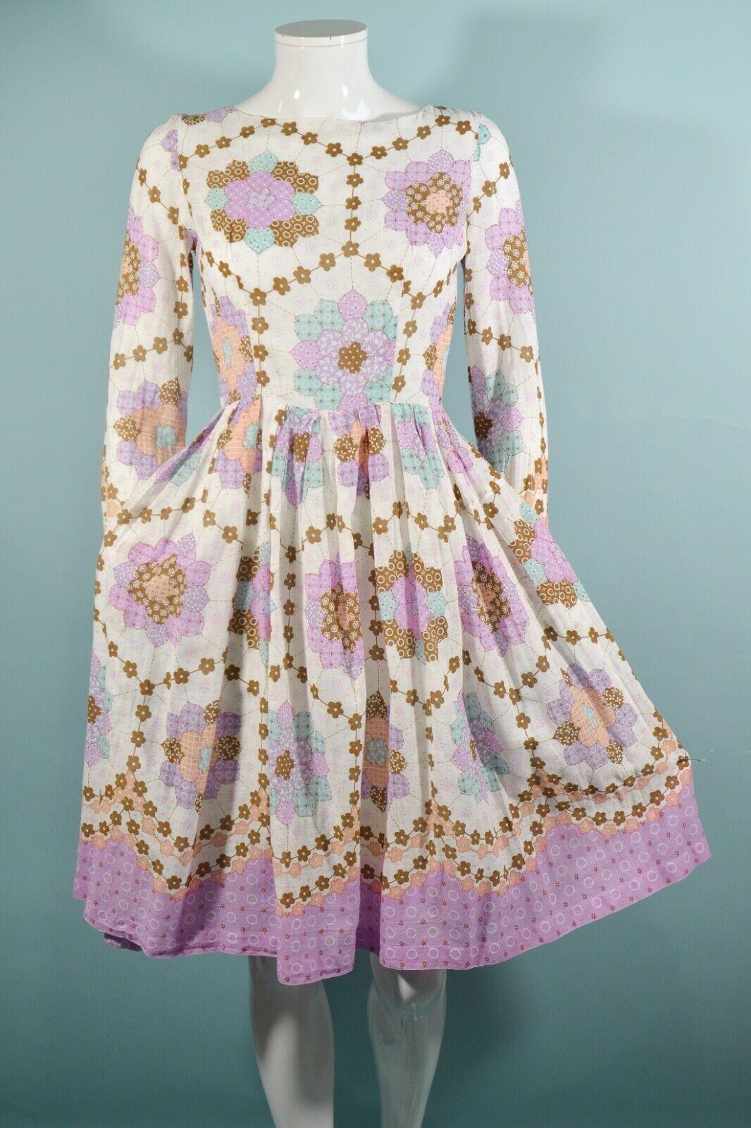 Vintage 60s/70s Faux Patchwork Hippie Dress, Cott… - image 3