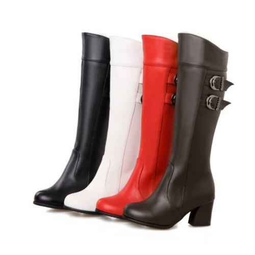 Womens pure color Round toe PU Leather Block High heel mid Boots Plus Size