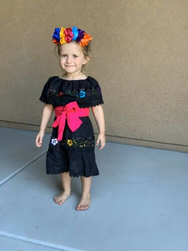 Mexican Girl Dress Gypsy Black with Multicolored embroidered flower 6M-4T