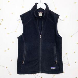Patagonia-Synchilla-Vest-Womens-Size-Small-Black-Full-Zip-Fleece-Zippered-Pocket