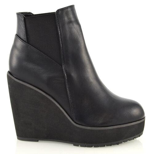 da donna zeppa tacco Chelsea Chunky Cleated plateau stivaletti scarpe taglia