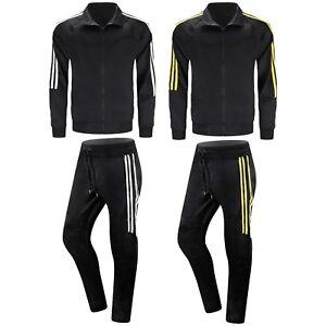 NEW-Men-Striped-Track-Suit-Black-Yellow-Pants-Jacket-Joggers-Slim-Fit-Zipper