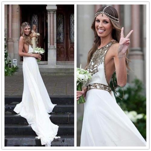 2018 Women s a Line Bohemian Boho Chiffon Beach Wedding Dress Bridal Gown  Custom for sale online  4e77720785