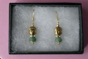 GOLD PLATED EARRINGS WITH BUDDHA IMAGE & EMERALD GEMS 2.6 CM. LONG + HOOKS