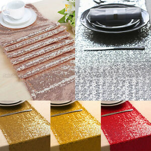 "12""x118"" Sparkle Sequin Table Runner Glitter Wedding Banquet Party Decor USA"
