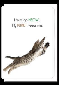 Inspirational Motivational Funny Cats Greeting Card Superhero Cat Lovers Blank