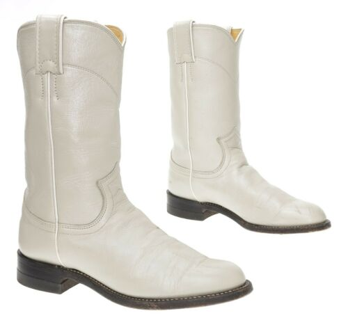 JUSTIN Cowboy Boots 5 A Womens Ivory White Leather