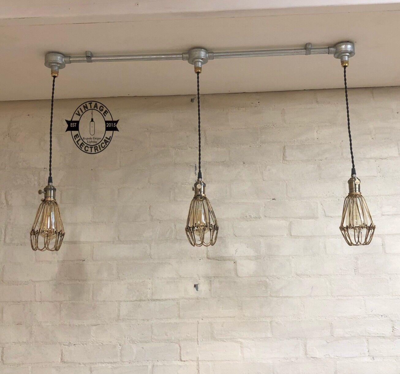 Hemsby 3 x jaula de acero de Latón Antiguo Luz de Mesa de techo colgante accesorio vintage