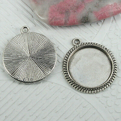 12pcs tibetan silver color round cabochon settings charms EF0959
