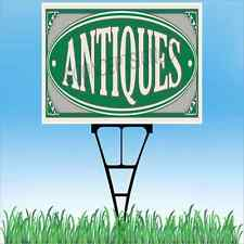 "18""x24"" ANTIQUES Outdoor Yard Sign & Stake Sidewalk Lawn Sales Store Flea Market"