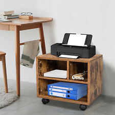 Wooden Printer Stand Rolling Under Desk Storage Table With Wheels Home Office
