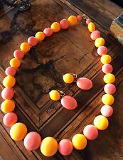 Rare! 60 Demi Parure Lucite Necklace Earrings Anni 60 Vintage