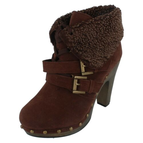 SALE Ladies F5715 Brown synthetic boot   by SPOT ON £9.99