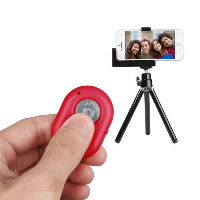 Bluetooth Remote Control Camera Selfie Shutter Button for Android IOS  Universal Red