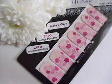 Nail Art Self Adhesive Full Nail Polish Wrap Foil Sticker Pink Rose Flower Decal