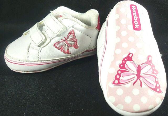 31e4328df29 Infant Baby Girls Reebok Butterfly White Pink Crib Shoes Size 1 Newborn NB  3M