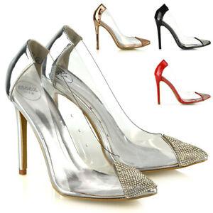 Nuevo-Para-mujeres-Zapatos-Taco-Alto-Puntera-en-punto-de-Acrilico-Diamante-senoras-resbalon-en
