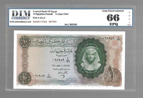 10 PAUNDS 1964 Gem UNC EGYPT CB P#41 DIM 66 EPQ