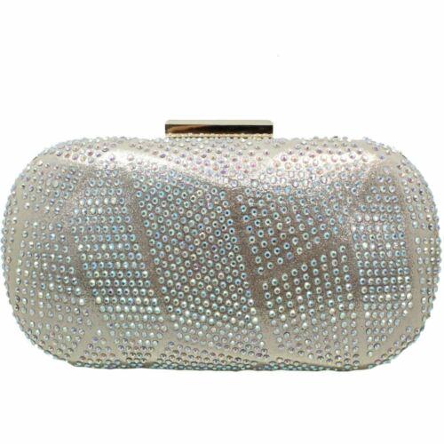 FLR524 Francie Metallic Faux Leather Gemstone Wide Fit Low Heels Bag Clutch