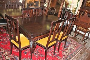Dark-Mahogany-Antique-Draw-Leaf-Table-amp-6-Chairs-Dining-Room-Furniture-Set