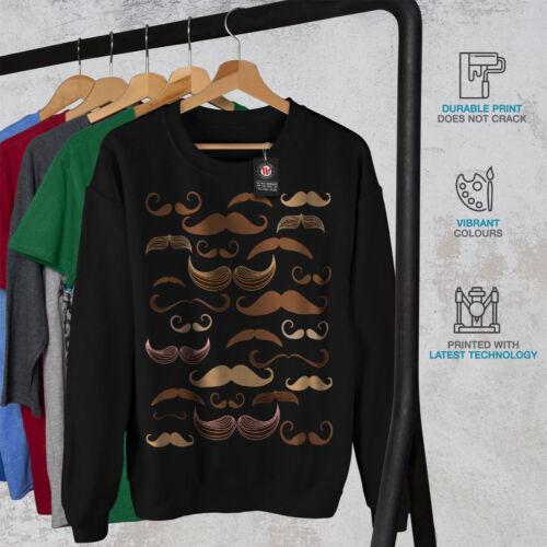 Black Felpa Madness Mustache uomo New da SPxxwnRHX