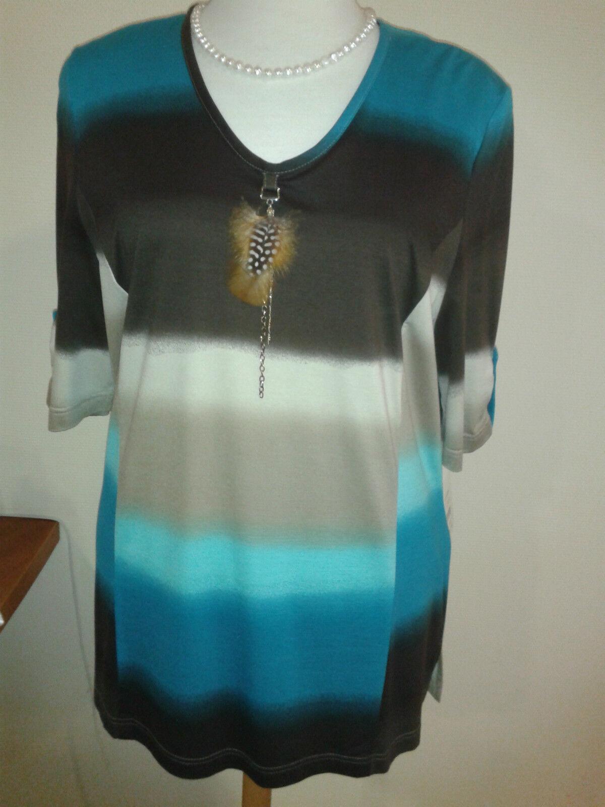 Chalou Damen 1 2 Arm Shirt modisch braun türkis mit Feder Gr.44 große Größen