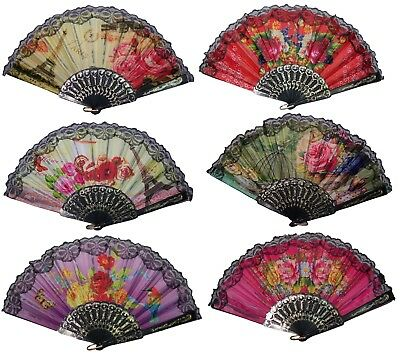HFan19 Spanish Party Dance Hand Fans Flowers Glitter Designs 6 Pc or 12 PcLot