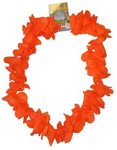 Neon Orange Hawaiian Leis Hawaii Neck Garland Hula Girl Fancy Dress