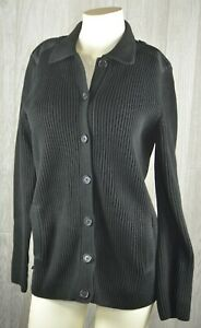 Lauren-Ralph-Lauren-Cardigan-Sweater-Women-039-s-S-Thick-Knit-Black