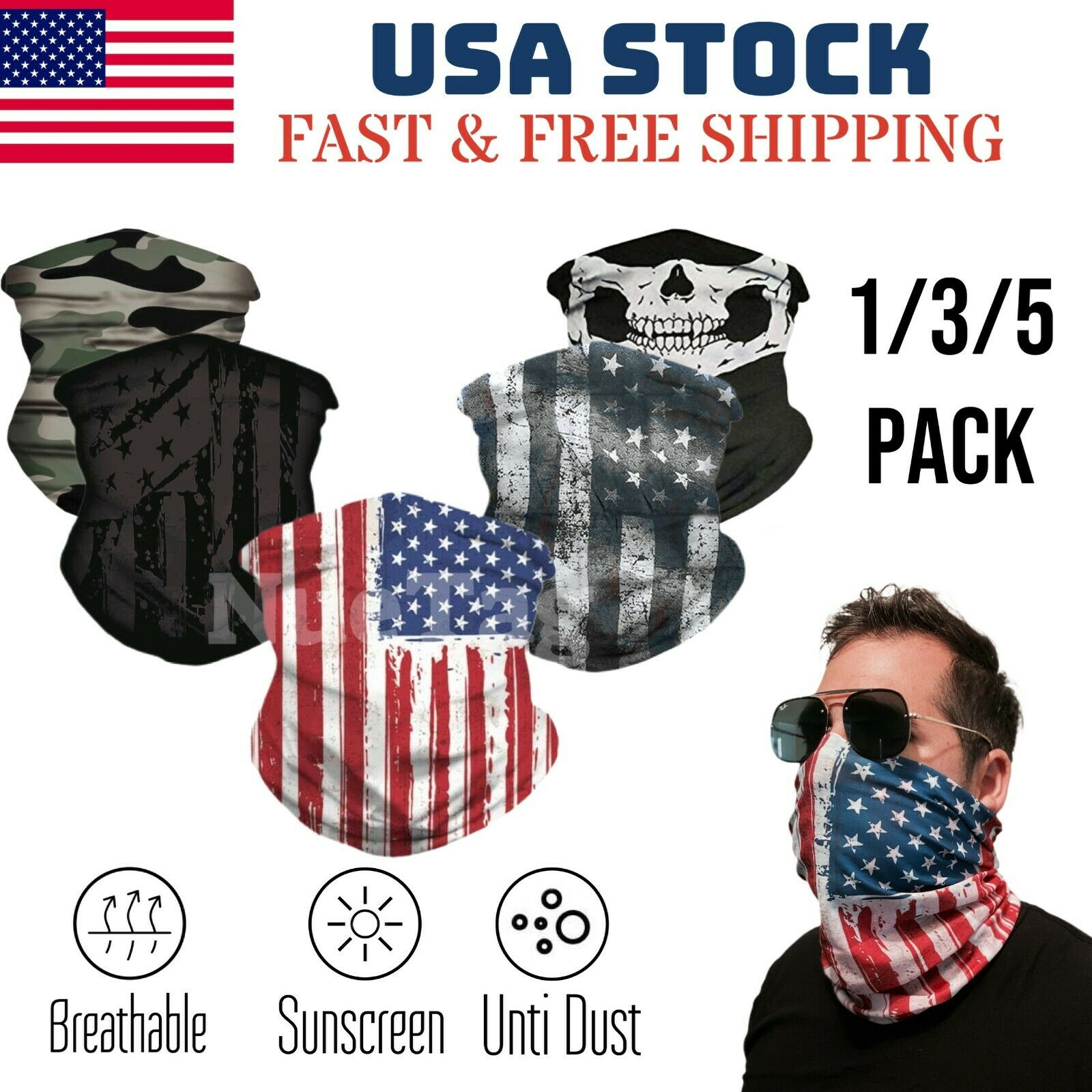 Cooling Neck Gaiter Face Scarf Sun Shield Balaclava Bandana Headband USA