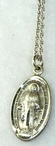 VTG CHAPEL STERLING SILVER MIRACULOUS MARY MEDAL NECKLACE