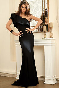 Gorgeous-Womens-Black-Ruffle-One-Shoulder-Elegant-Mermaid-Evening-Dress-Formal