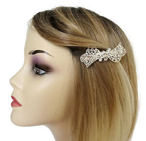 Beautiful-Crystal-Rhinestone-Bow-Hair-Clip-Barrette-Grip-Silver-Tone-SMALL-7-cms