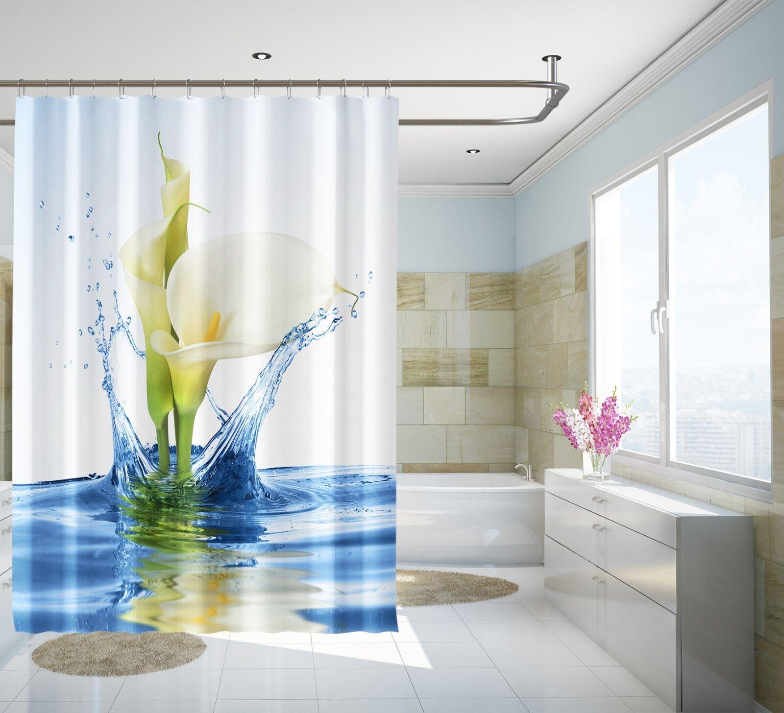 3D Calla Lily 231 Rideau de Douche Imperméable Fibre Salle de Bain Home Windows Toilette