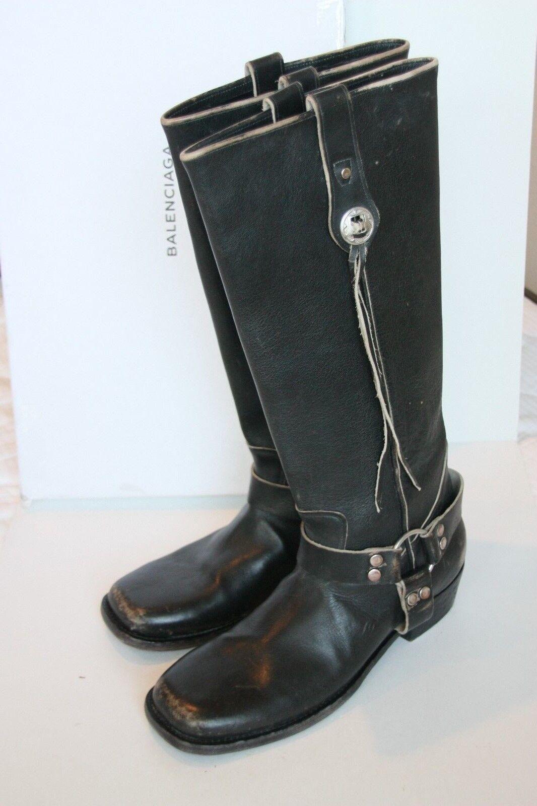 1645 Brand New Balenciaga Stivale Pelle Nori Ecru Distressed Tall Boots 41   11