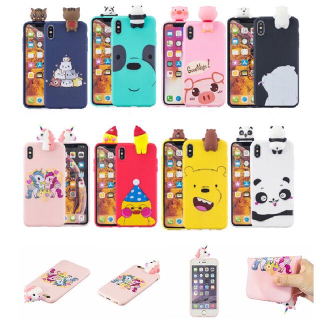 3D Cute Panda Bear Unicorn Silicone Phone Case Cover For iPhone Huawei Xiaomi