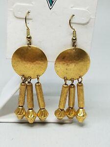 Gold-Tone-Dangle-Pierced-Earrings-Fish-Hook-Vintage