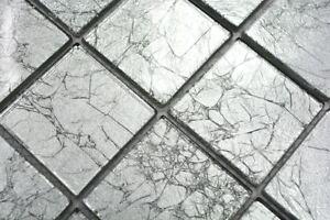 Mosaïque translucide crystal structure argent cuisine mur 68-4SB21_b ...