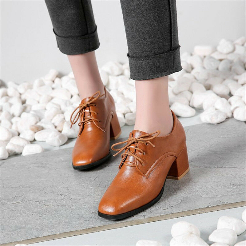 Fashion Women Square Toe Lace-up Block Mid Heel Oxfords Low Top Leather Shoes