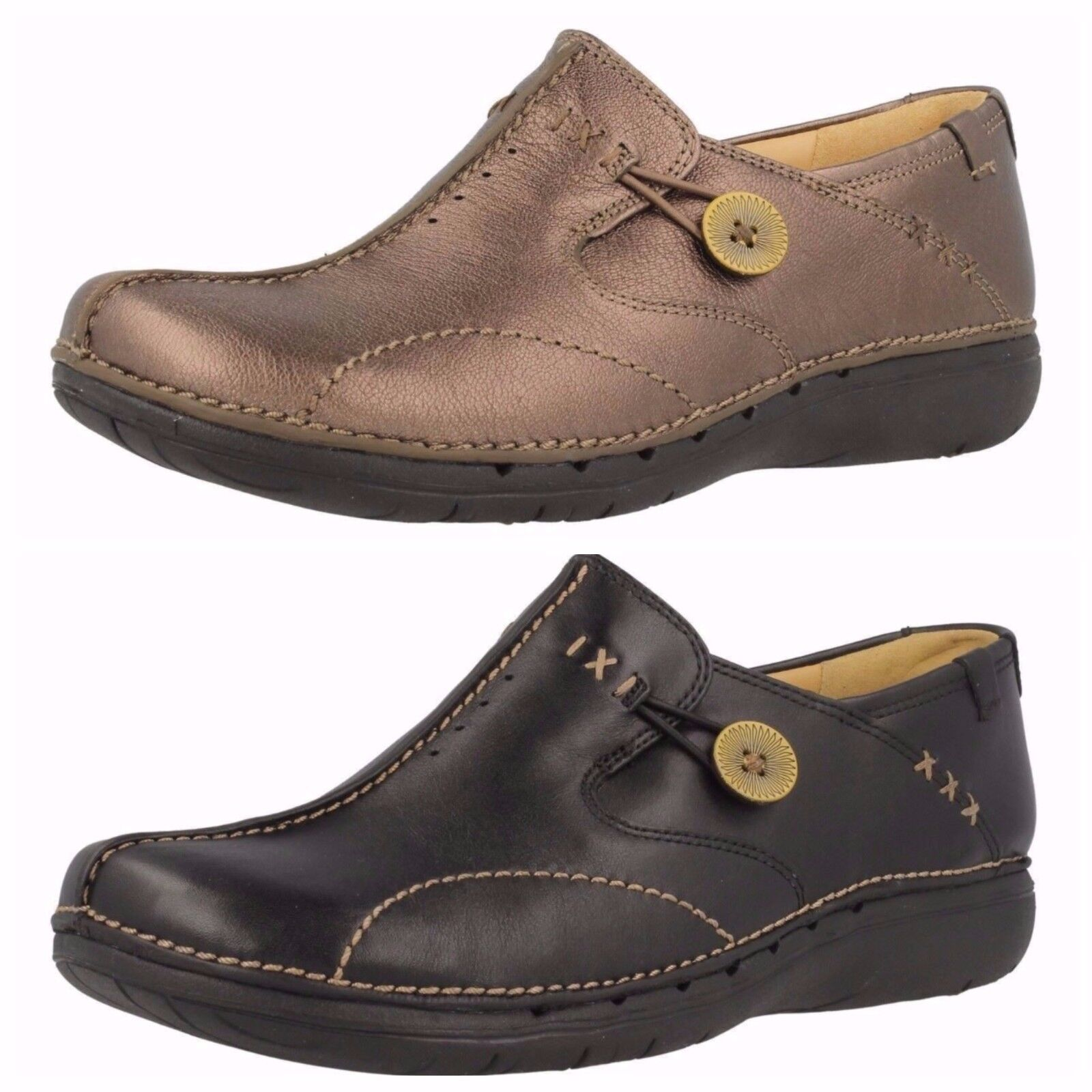 Ladies Leather Slip On Clarks- Un Loop 2 Colours- Great Price