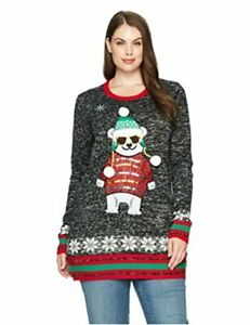Blizzard-Bay-Women-039-s-Polar-Bear-Crew-Neck-Christmas-Sweater-Black-Size-Small