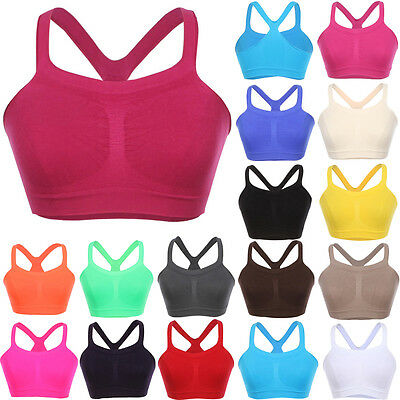 Seamless Spandex BRALETTE Sleeveless Cropped Sports Bra Tank Top ONE SIZE