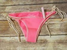 Victorias Secret Surf Crochet Cheeky Tie Bikini Bottom Pink Forever Young XS NWT